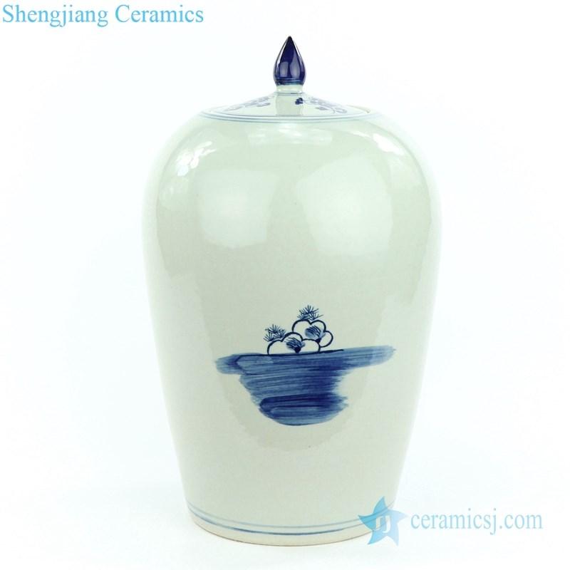 pheasant floral porcelain jar