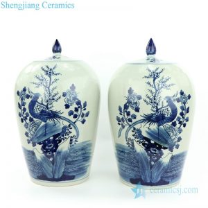 RZMW08-A Blue and white pheasant floral porcelain jar