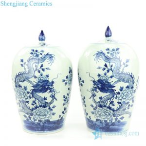 RZMW08-B Blue and white hand paint dragon floral ceramic jar