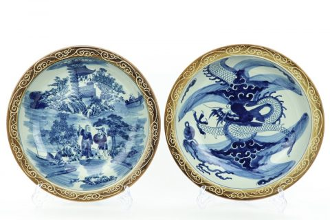 RZMW09-A/B Blue and white man dragon china plates with yellow rim