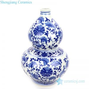 RZNJ05 Gourd shaped ceramic with interlocking branches of lotus design vase