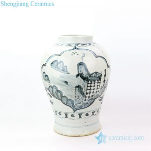 RZOX01 Shengjiang factory produce antique ceramic with hand painted pattern vase