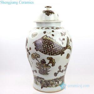 RZOX03 Jingdezhen factory ceramic with fish design jar