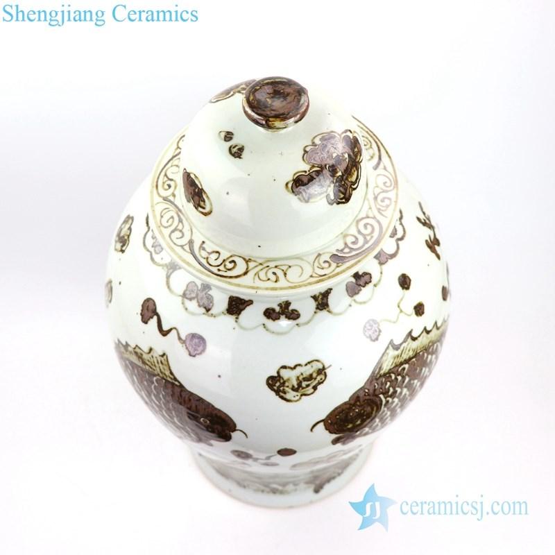 ancient ceramic jar with fish design