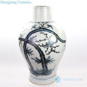 RZOX07 Blue and white hand painted ceramic withdesignofflowerandbirdvase