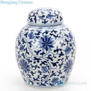RZOY30 Shengjiang wholesale hand craft blue and white ceramic tea jar