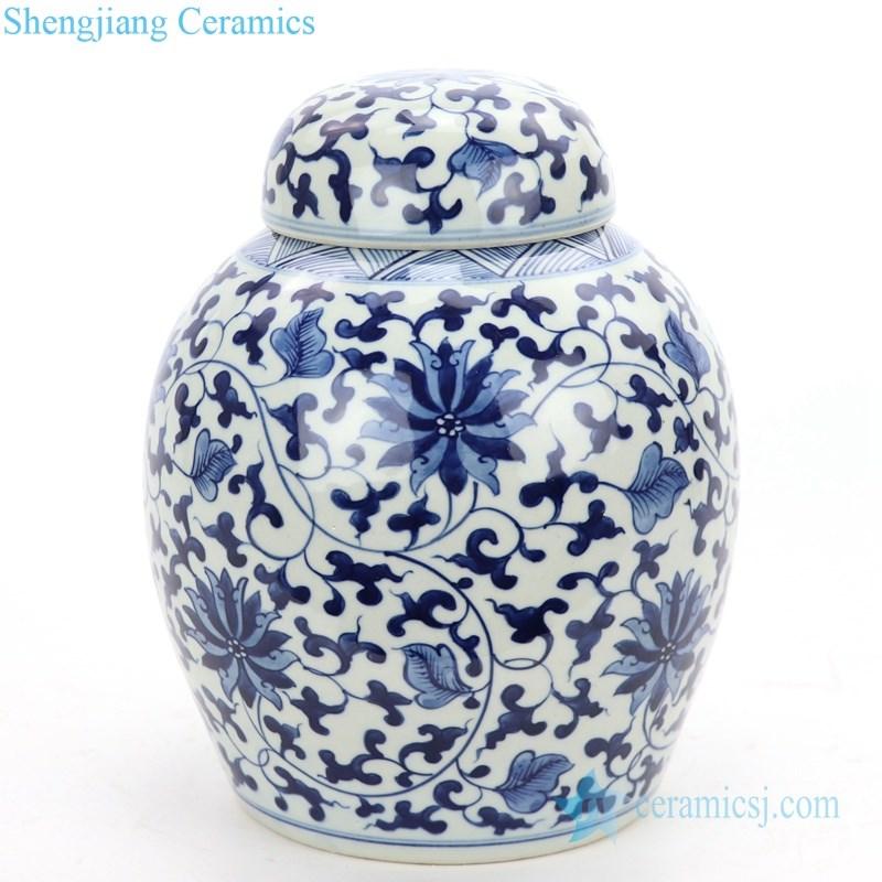 round ceramic tea jar with lid