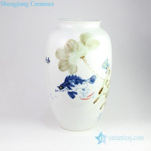 RZPB01 Free hand drawing style colorful lotus fish pond porcelain vase