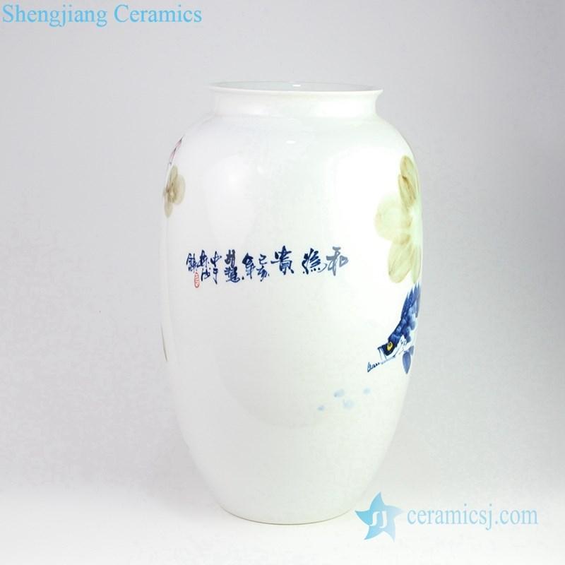 colorful lotus fish pond porcelain vase