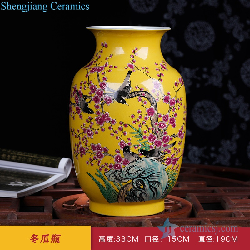 cherry blossom and magpie vase