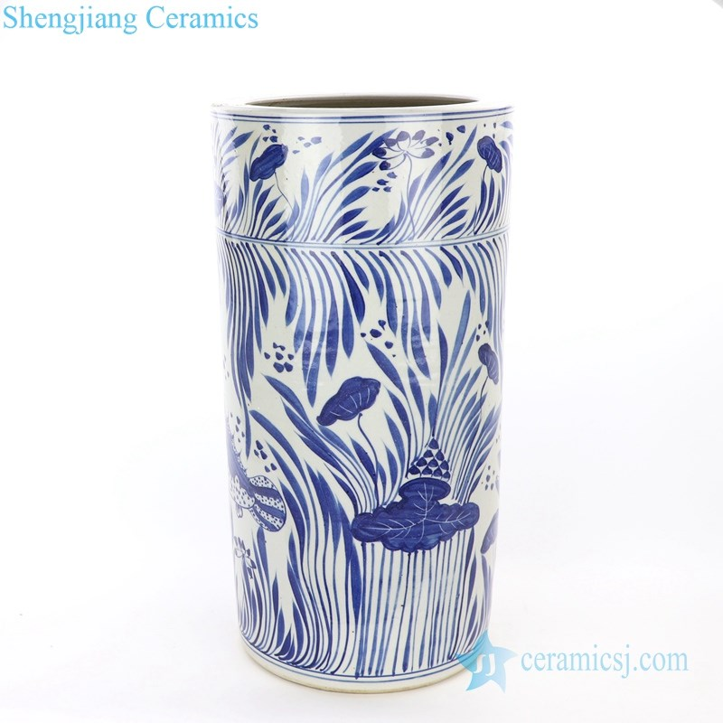 blue and white hand painted umbrella stand