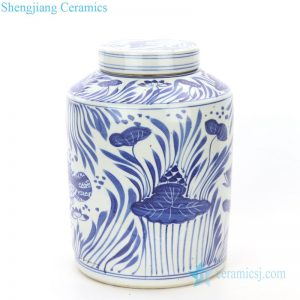 RZPI23 Hand painted blue and white ceramic with lotus leaves tea jar