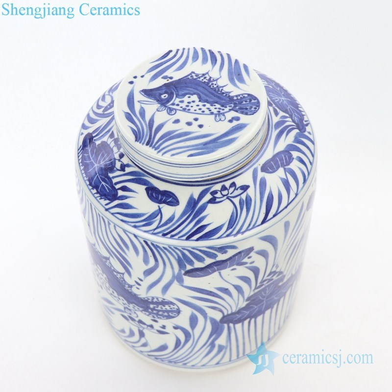 blue and white tea jar with lid
