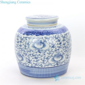 RZPI24-A Chinese traditional ceramic with design of interlocking branches of peony tea jar