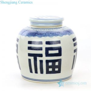 RZPI24-D Antique blue and white hand painted ceramic jar