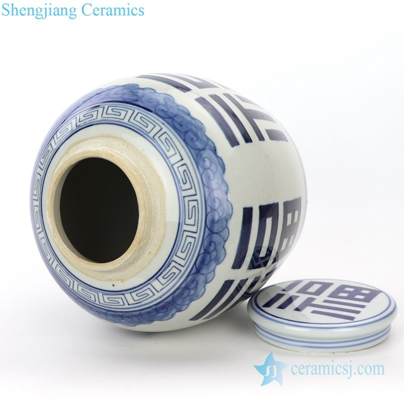 blue and white ceramic pot means good fortune