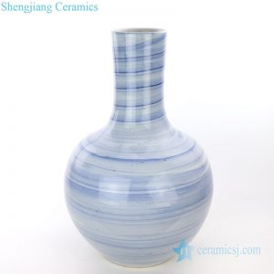 RZPI25 Asian style blue and white striped globular vase