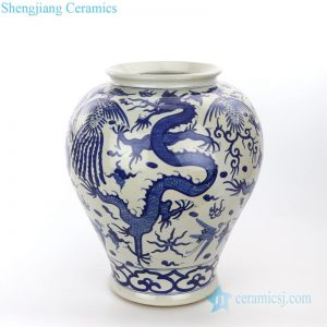 RZPI26 Chinese ancient ceramic with cloud and dragon design vase