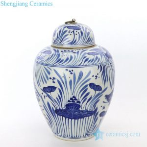 RZPI27-B Blue and white ceramic with fish grass design jar