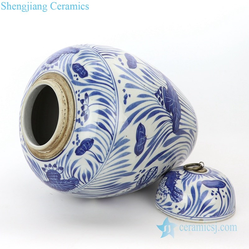 high end hand painted ceramic tea jar