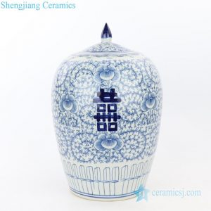 RZPI32 Antique ceramic with interlocking branches of lotus jar