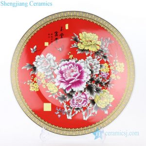 RZPK01 Chinese style ceramic with colorful flowers design plate
