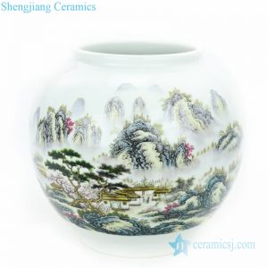 RZPL01 Famille rose landscape design ceramic vase