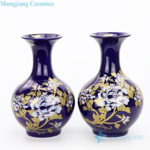 RZPM01 Emperor yellow ceramic with peony design vase