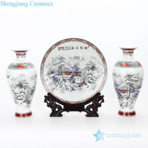 RZPN01 Household three piece of display ceramic with snow design vase and plate