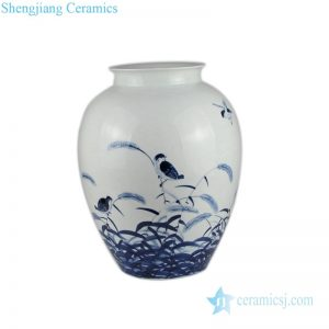 RZPO01 Blue and white bird design ceramic vase