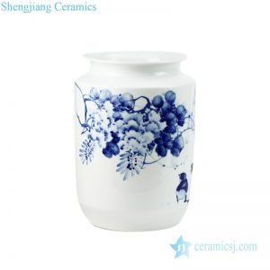 RZPO02 High quality blue and white ceramic with flower and bird pattern vase