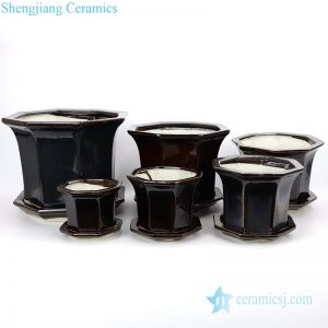 RZPR01 Jingdezhen hot sale black various sizes ceramic planter