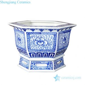 RZPT01 Six sides orchid design ceramic flower pot