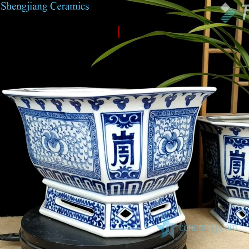 elegant blue and white ceramic planter