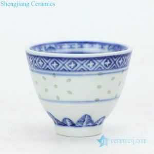 RZPU01 Shengjiang company hot sale blue and white ceramic tea cup