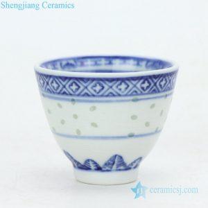 RZPU01 Shengjiang company hot sale blue and white ceramic tea cup