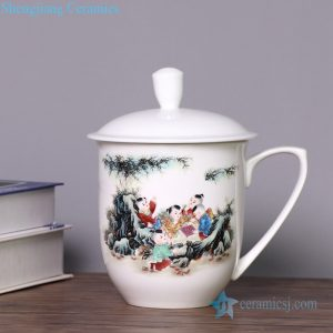CBDI40-K Happy childhood pattern big porcelain tea cup