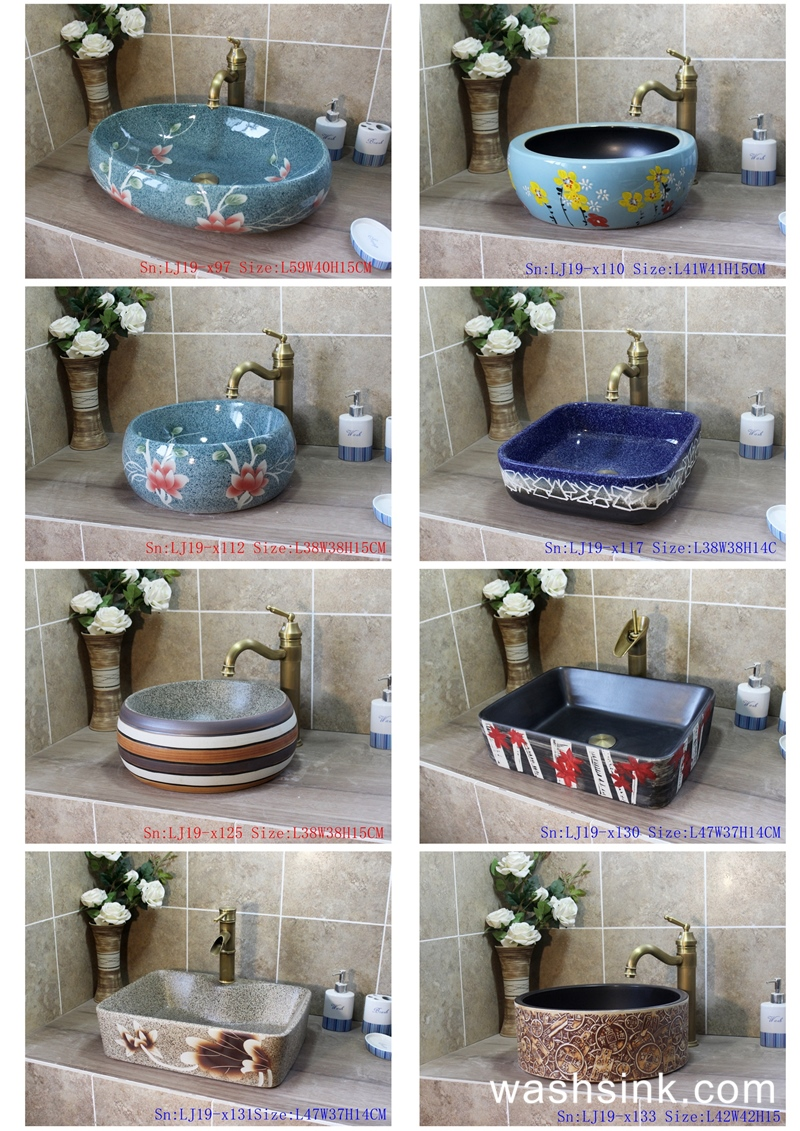 hand painted ceramic wash sink