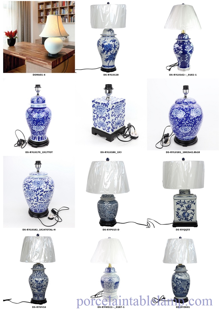 blue and white ceramic lamp
