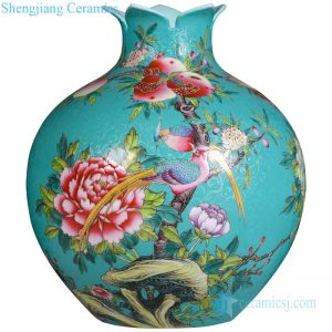 RYHV32 Qing Dynasty Qianlong period needle painting bird floral porcelain vase