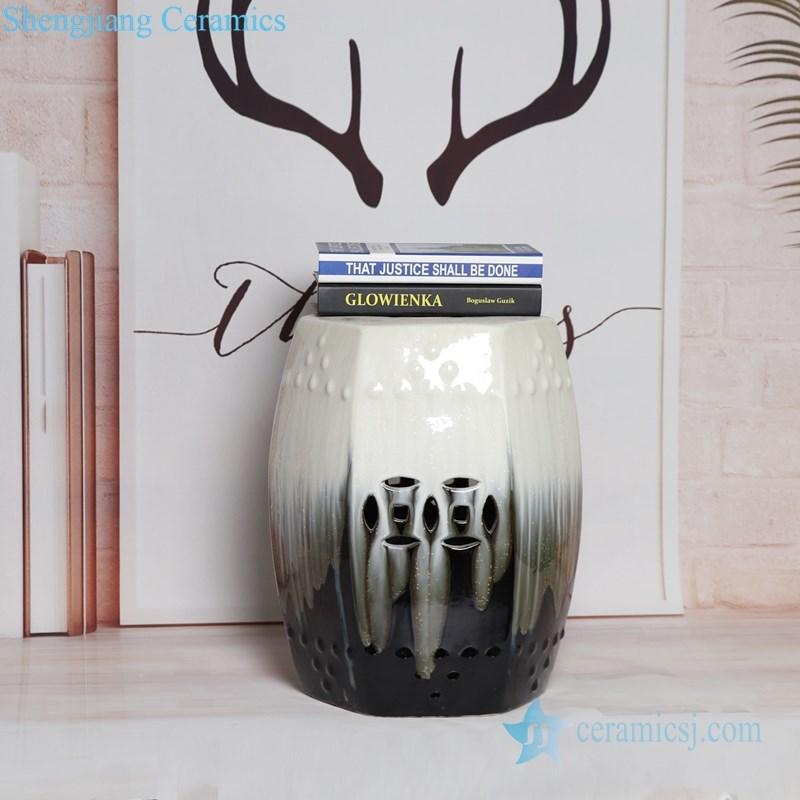 melting black and white ceramic seat