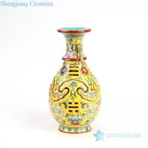 RYLW16 Famille rose carved Qing Dynasty reproduction yellow revolving vase