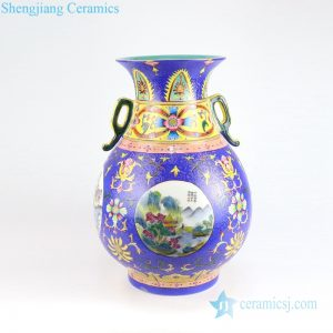 RYLW17 Qianlong emperor period hand needle painting blue porcelain vase