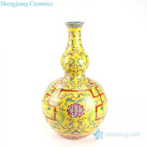 RYLW18 Qing Dynasty Qianglong emperor period reproduction needle painting royal yellow famille rose porcelain vase