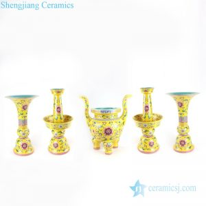 RYLW19 Famille rose cherish buddha set of 5 porcelain censer candle holder and vase