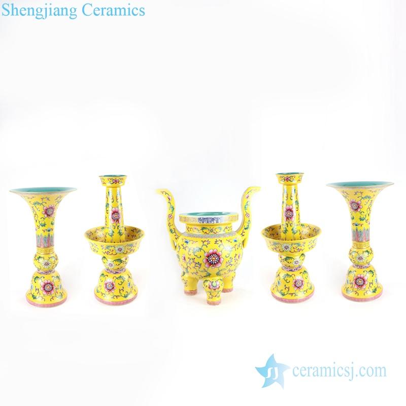 cherish buddha set of 5 porcelain