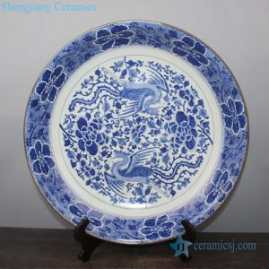 RYQQ44-F Hand drawing blue and white phoenix design ceramic decor plate