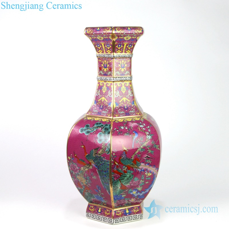 red antique porcelain vase