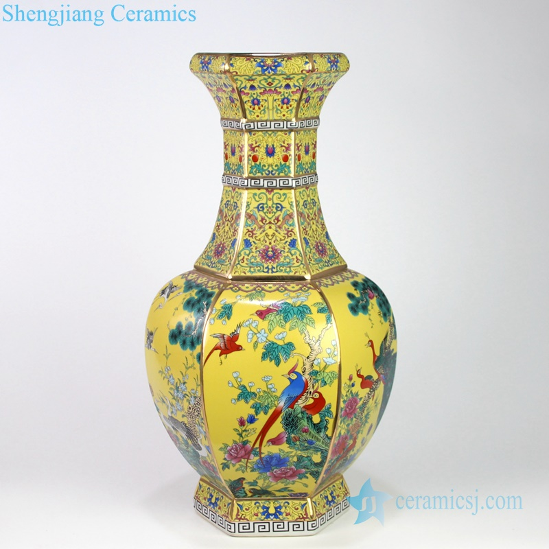 yellow antique porcelain vase