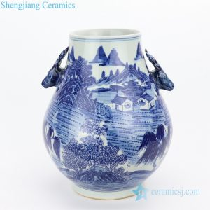 RYWD31-C Indigo blue landscape ceramic vase with goat handle